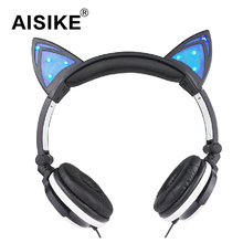 Hot cat ears headphones folded headband Parade earphone with LED cosplay earphone suitable for holiday gift