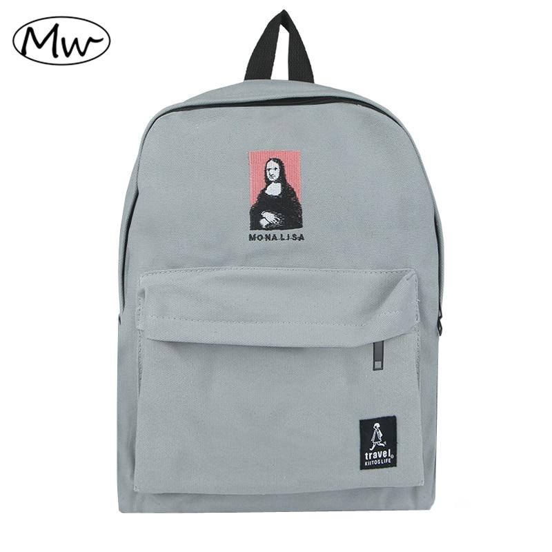 2018 Nuovo ricamo stampa zaino scuola media studenti borsa a tracolla donne quotidiano zaino casuale borsa da viaggio mochila