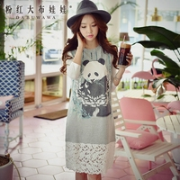 Dabuwawa Women Cotton Animal Print Dress Summer New Straight Slim O Neck Lace Patchwork Dress D17ADR160