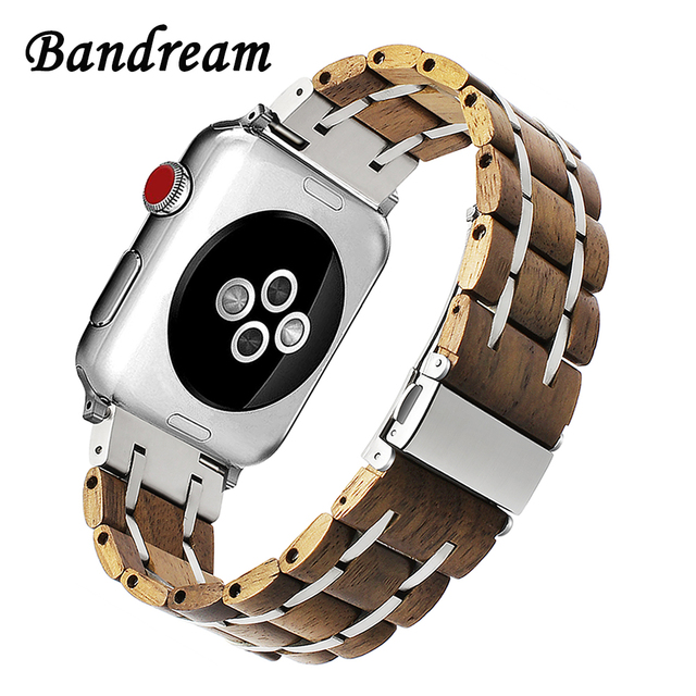 Correa de reloj de madera genuina y acero inoxidable para iWatch Apple Watch 38/40/42/44mm Series 4 pulsera de correa de enlace de banda de sándalo 3 2 1