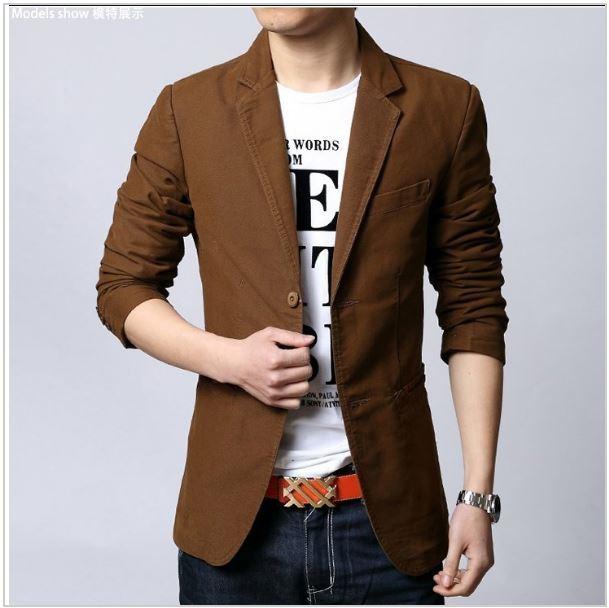 c169cb97e49 2016 Fashion Men Brand Casual Blazers Single Breasted Suit Jacket Slim Fit  Cotton Designs Urban Clothing Man Casual Blazers