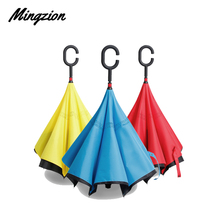 Drop Shipping Windproof Reverse Folding Double Layer Inverted Chuva Umbrella Self Stand Rain Protection C-Hook Hands For Car 15pcs windproof reverse folding double layer inverted chuva umbrella self stand inside out rain protection c hook hands for car