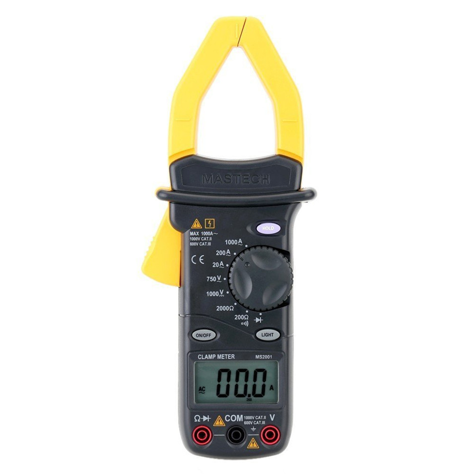 MASTECH MS2001C Digital Clamp Meter Multimeter AC DC Voltage Current Diode Resistance Measurement mastech ms2001c digital clamp meter ac dc voltage tester detector with diode and backlight