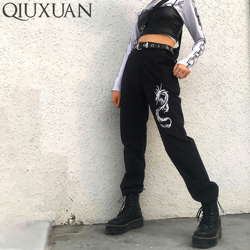 Qiuxuan Chinese Style Embroidery Dragon Black   Pant   Women Punk Trousers Spring High Waist   Pants     Capris   Hip Hop Casual Sweatpants