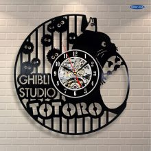 Estudio Ghibli Totoro plush_reloj de pared exclusivo hecho de vinilo para grabar saat(China)