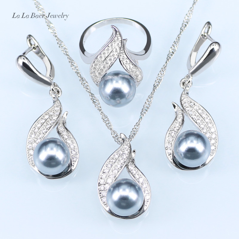 ZIRIS Silver color Pearl Jewelry Sets For Wedding