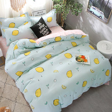 Home Textile lemon bedding star duvet cover set flower leaves bed sheet + duvet cover + pillowcase bed cover fruit bedlinen set(China)