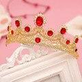 Горный хрусталь красный Кристалл невесты аксессуары для волос свадебные диадемы коронки для продажи pageant коронки глава ювелирные изделия украшения для волос