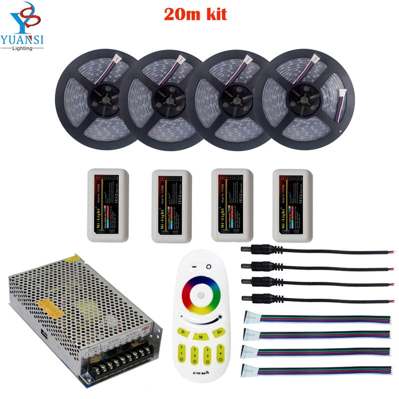 5~20m 5050 rgbw rgbww(4 in 1) led strip light+Mi.light 2.4G rgbw 4-zone led controller+rf rgbw touch remote+12v led adapter wifi 20m mi light led strip ribbon rgbw rgb 5050 12v waterproof 4pcs controller 4 zone rf remote power adapter free shiping