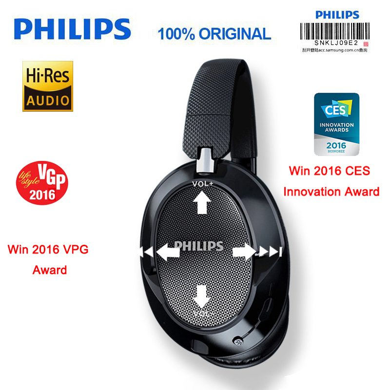 Philips SHB9850 Active Noise Cancelling Wireless Headphones Lithium Polymer Battery Bluetooth 4 0 NFC Headset with