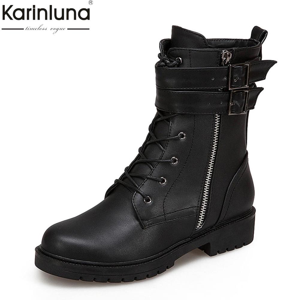 Karinluna 2018 Plus Size 34-43 Zip Up Shoes Woman Boots Female Buckles Autumn winter Ankle Boots women shoes martin boots pu buckles back zip ankle boots page 3