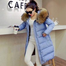 2016 new hot winter Thicken Warm woman Down jacket Coat Parkas Outerwear Hooded Raccoon Fur collar long plus size 2XXL Luxury