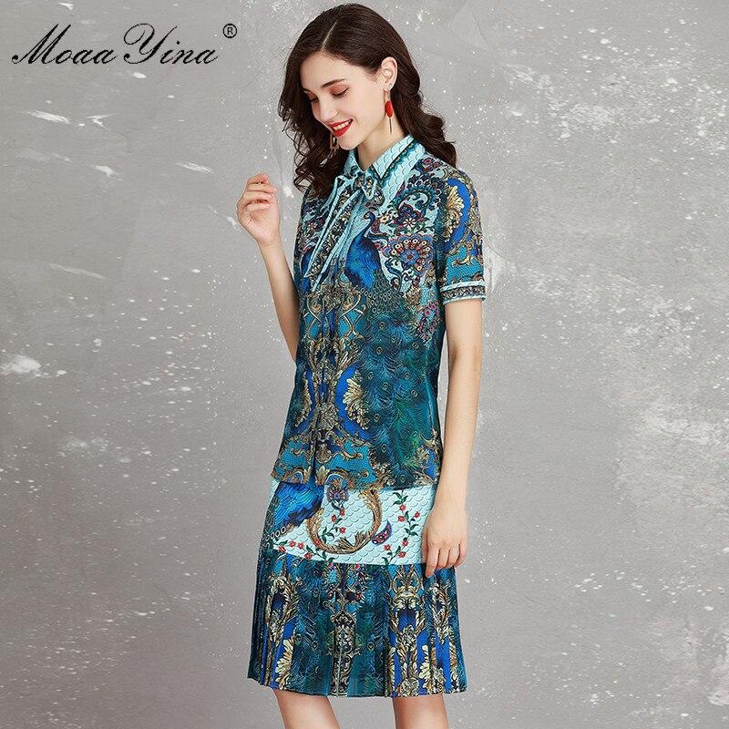 Élégant Ensemble Femmes Fashion Queue Bleu Folk Designer Deux Indie Imprimé De À Moaayina Shirt Paon Courtes Poisson Jupe D'été Manches En Piste Floral q6SUIX