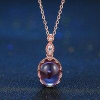 MoBuy MBNI021 Owalny Kamień Naturalny Ametyst Naszyjnik i Wisiorek 925 Sterling Silver Rose Pozłacane Dzieła Biżuteria Dla Kobiet Prezent
