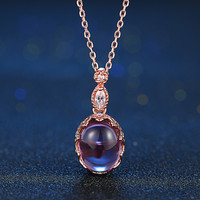 MoBuy MBNI021 Oval Natural Gemstone Amethyst Necklace Pendant 925 Sterling Silver Rose Gold Plated Fine Jewelry