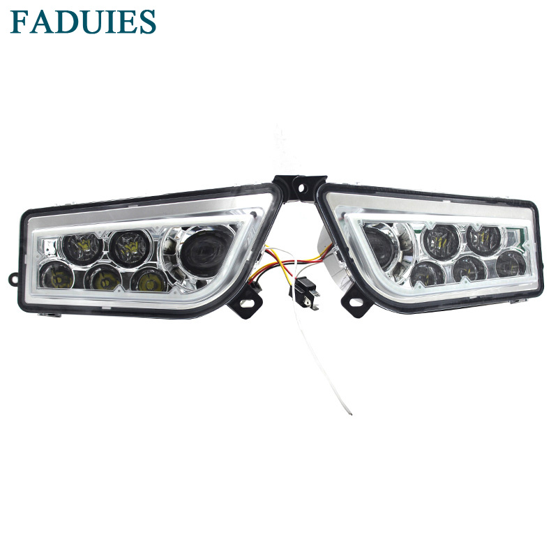 FADUIES For 2014-2017 POLARIS RZR 1000 XP - Chrome,black,Blue,Green,Orange,Red LED HALO HEADLIGHTS KIT- Angel Eye