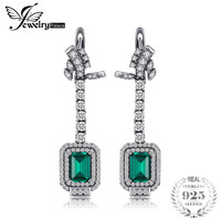 JewelryPalace Luxury 5 06ct Created Emerald Clip Earrings 100 Real 925 Sterling Silver Women Dangle Earrings