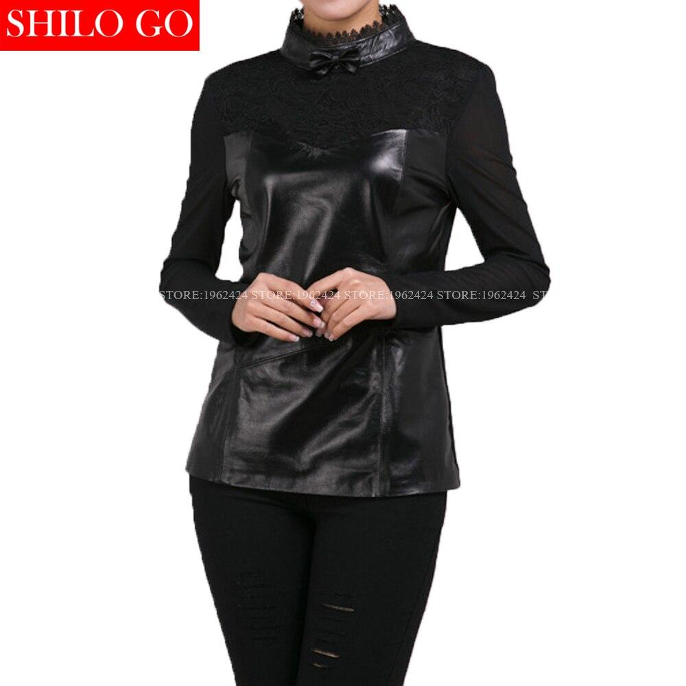 Grande taille été nouvelle mode femmes haute qualité peau de mouton dentelle vintage court bow noir en cuir véritable sexy chemise courte XXXL