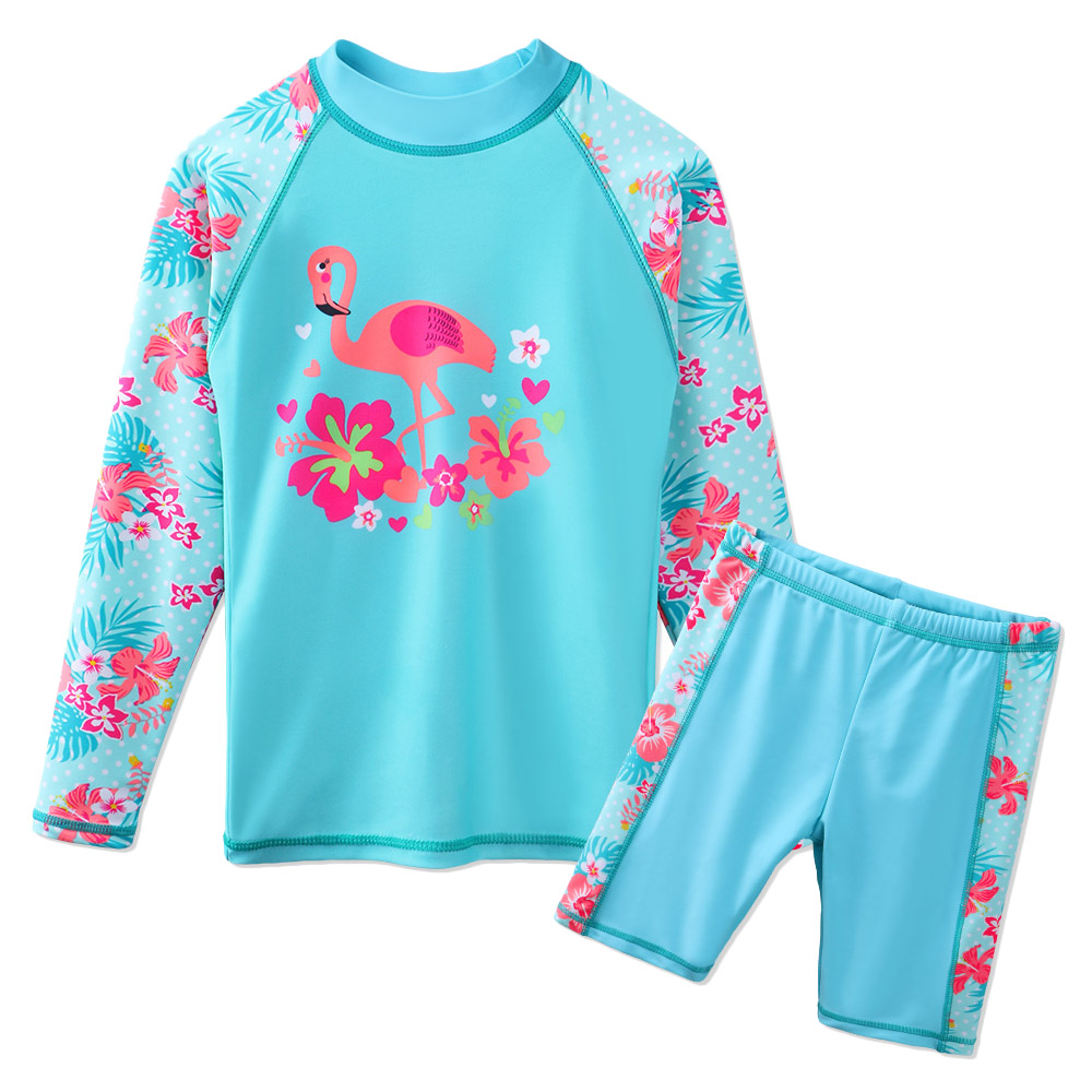 Baohulu Lovely Girls Two Pcs Set Long Sleeve Rash Guards Flamingo Pattern Swimsuits Upf 50 Uv Protective Swimwear Bathing Suit A Plastic Case Is Compartmentalized For Safe Storage Mother & Kids