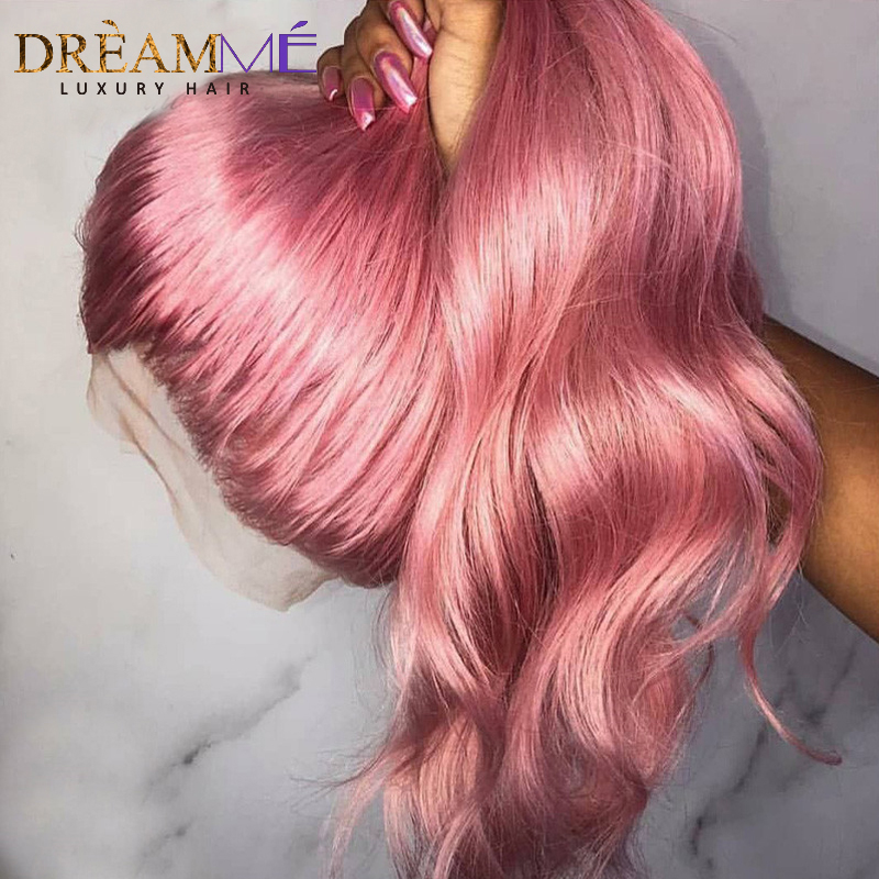 Pink Colored Lace Front Human Hair Wigs Preplucked Natural Wavy Transparent Lace Wigs For Women Baby