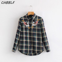 Retro Floral Embroidery Plaid Shirts Long Sleeve Blouse Ladies Office Wear Brand Tops Blusas S1378