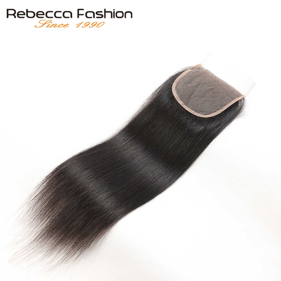 Rebecca Straight Top Closures Brazilian Hair 4X4 Lace Closure Free/Middle/Three Part Remy Human Hair 8 To 20 Inch Free Shipping