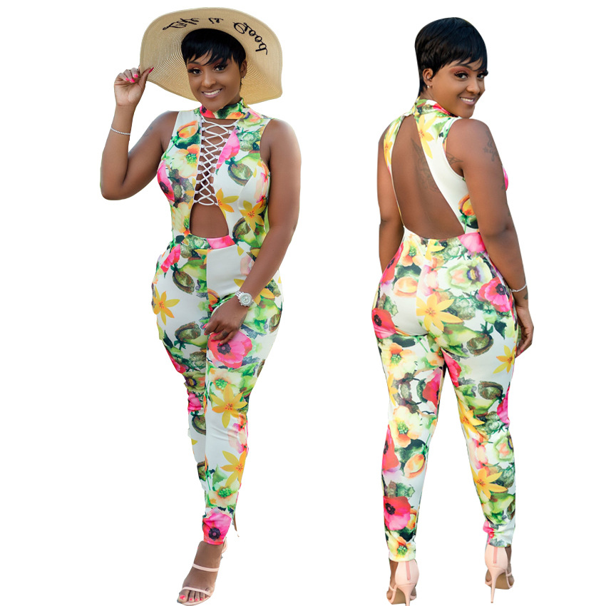 Floral Print Sexy Jumpsuit Lady Summer Front Criss Cross Hollow Sleeveless Slim Romper Backless Fashion Streetwear Overall LD603