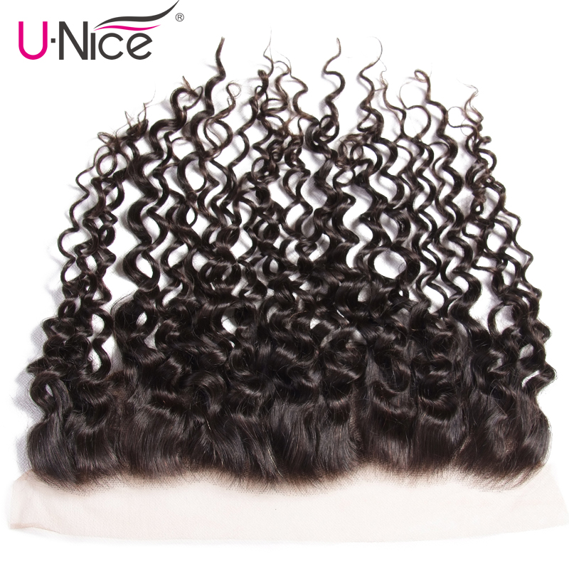 Unice Hair Peruvian Human Curly Hair Lace Frontal 13*4 Pre-Plucked Ear to Ear Peruvian Remy Hair Bundles 1 PCS Free Shipping