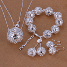 2015new 925 sterling silver hollow ball beads links bracelet necklace earring for women  fine fashion jewerly wholesale