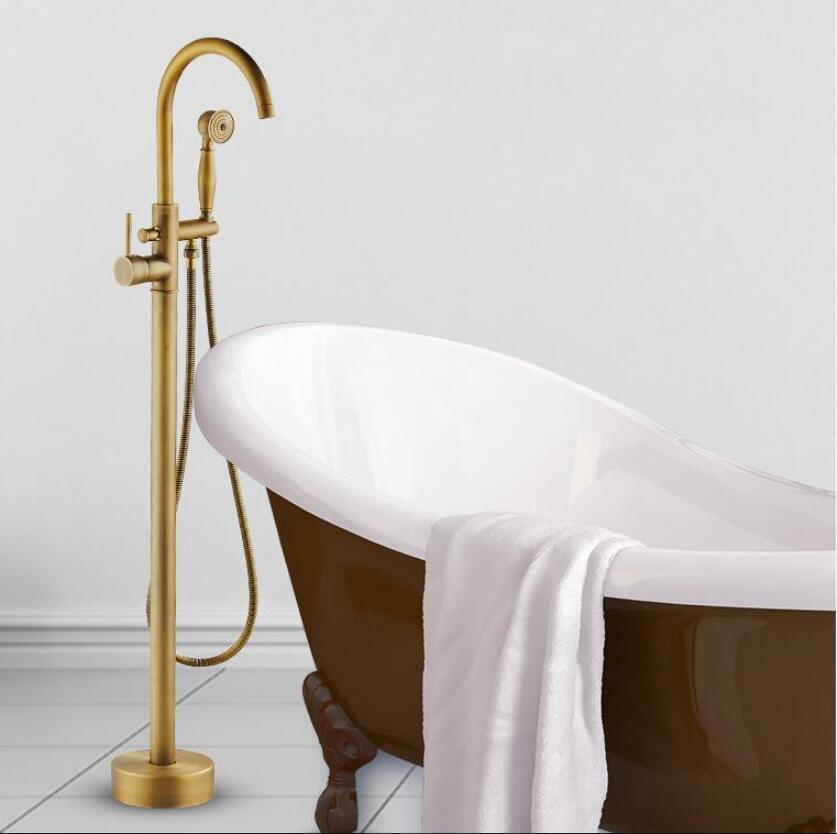 Modern Free standing Bathtub Faucet Tub Filler Fashion Antique Bronze Floor Mount with Hand shower Bathtub Mixer Taps