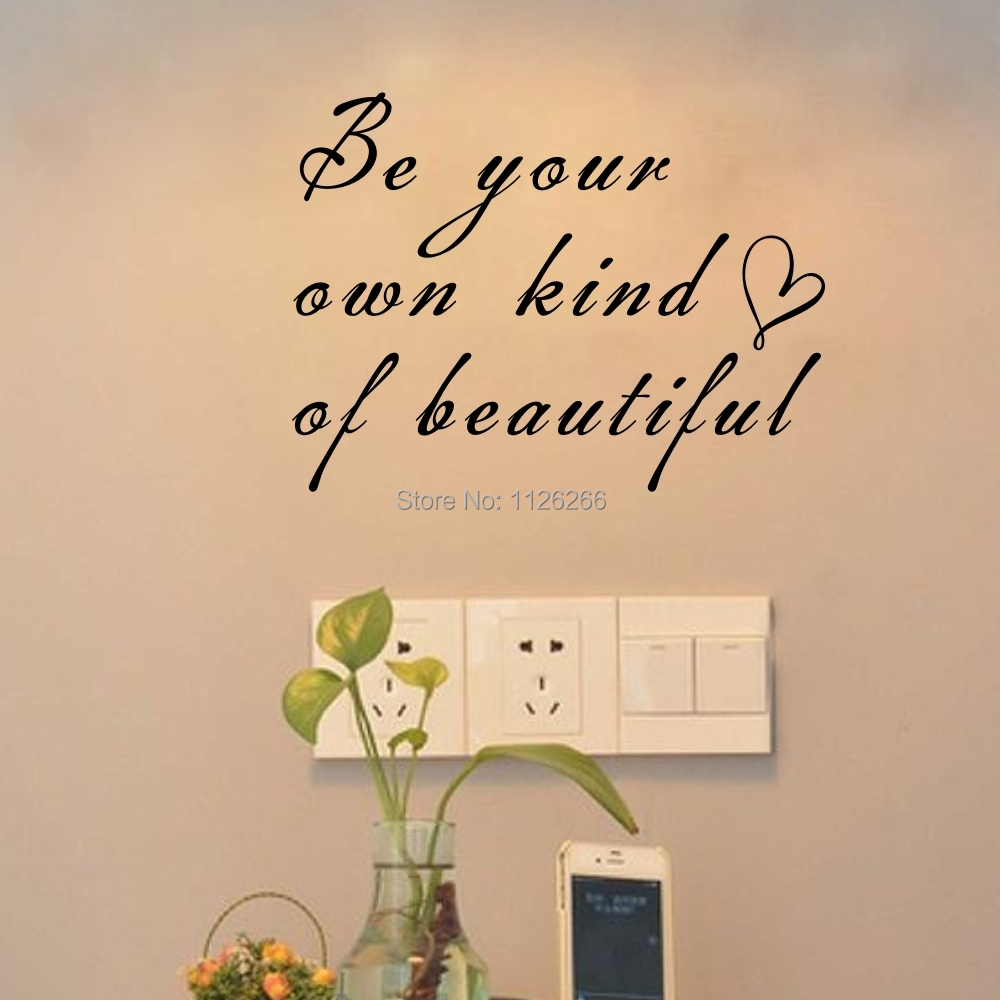 Classic Quote Be Your Own Beautiful with Heart Decorative Wall ...