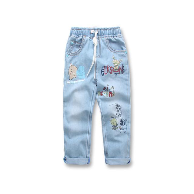 Jeans de moda para niños niños bebé de los pantalones vaqueros del otoño del Resorte de larga sección de Dibujos Animados de impresión washed vaqueros niños pantalones