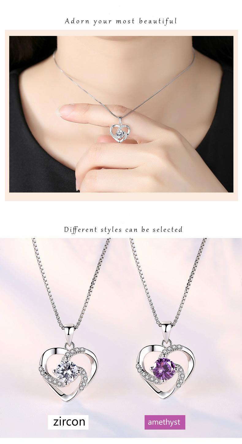 Ketting met hanger - hartje bedekt met ''kristallen'' - Silver Plated - Verkrijgbaar in Blauw, Paars en wit