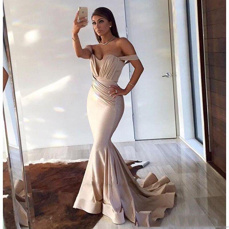 Robe de bal longue sirène pas cher Sexy hors de l'épaule plissée Satin Simple Vintage robe de soirée longueur de plancher femmes robe de soirée