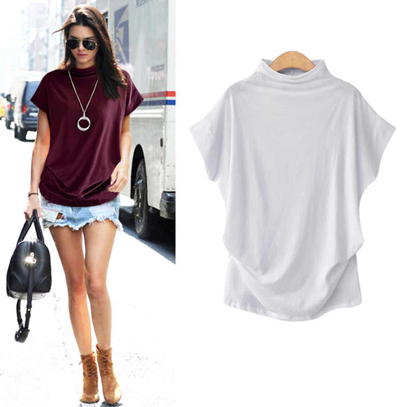 8dafc255e95 ... Cotton t shirt Women Tops 2019 New Plus Size Loose Womens Shirt  Turlneck Fashion Large Size ...