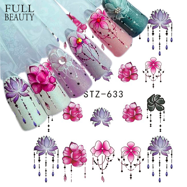 Fulll Beauty 1pcs Gradient Light Purple Rose Flower Slider Nail Decals for Watermark Manicure Polish Nail Sticker