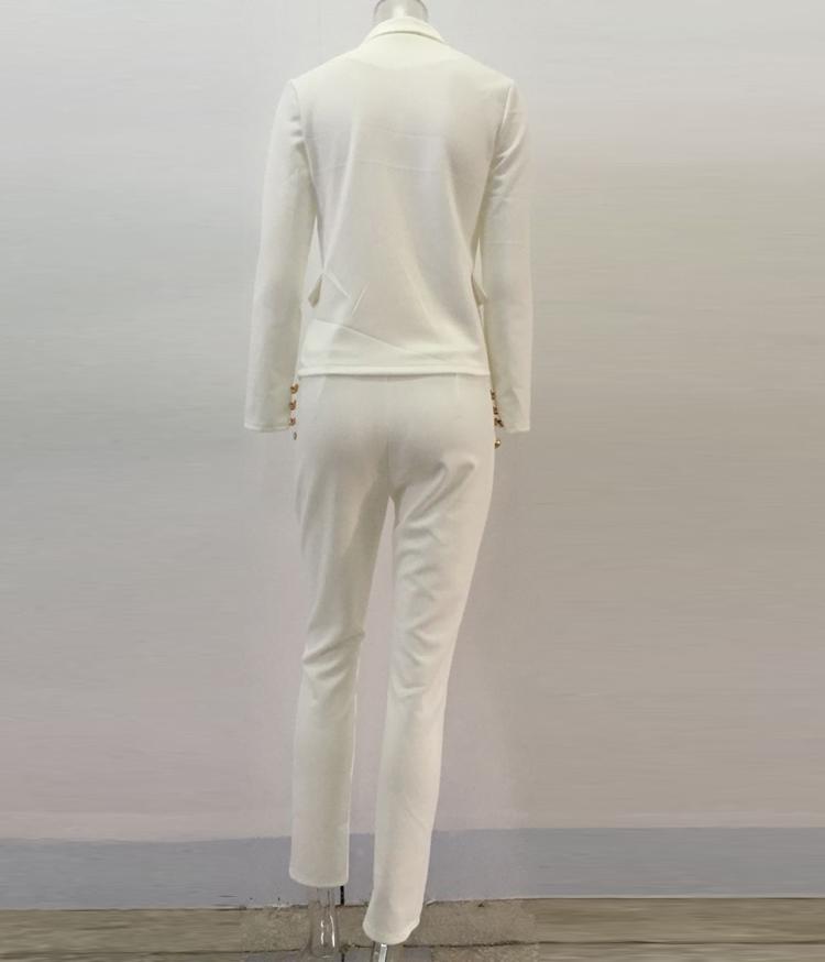 Black White Pants Suit Women Business Formal 2 Piece Pant Set Female (8)