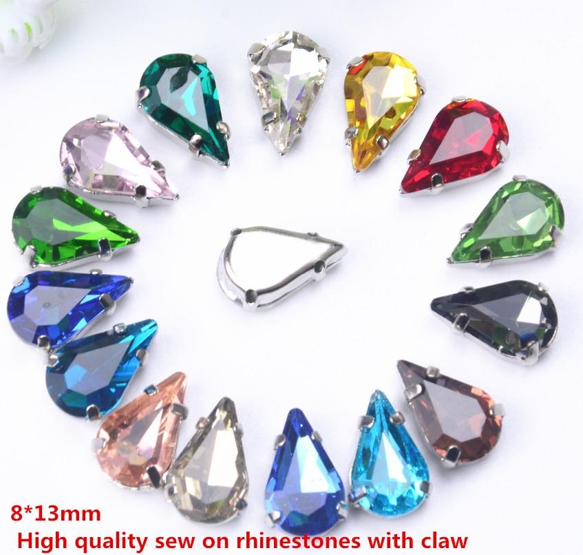 Мм 8*13 мм Вышивание каплевидной формы прозрачный стекло бусины с бусины коготь применяются к украшения одежды 20 шт./упак.