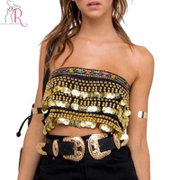 Gold Bandeau Beaded Metal Circle Tie Backless Crop Top Summer Sleeveless Strapless Novelty Vintage Sexy Women