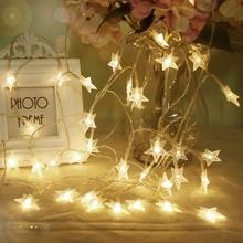 Светодиодные гирлянды огни Светящиеся звезды Свет Строка 6M 40 светодиодов Принцесса комната Праздничная партия Рождество Рамадан Украшение батареи JQ