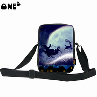 ONE2 Design Christmas Santa Claus single shoulder messenger bag for kids man women lady high school students teenager boys girls