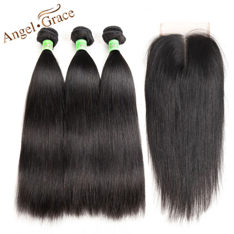 Angel Grace Brazilian Hair Weave Bundles With Closure Remy Human hair 3 Bundles With Closure Straight Hair Bundles With Closure