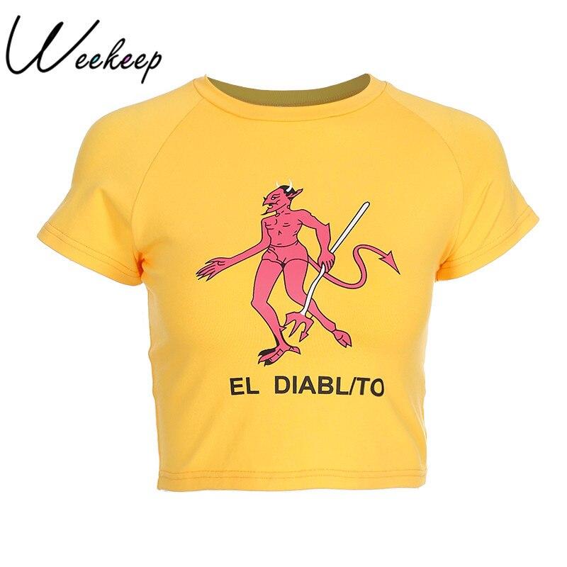 Weekeep Sexy Vita Sottile Corta T-Shirt Delle Donne di Modo di Stampa Del Fumetto Del Cotone t camicia di Estate Giallo Lavorato A Maglia tshirt O-Collo Diavolo Top