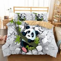 Fanaijia Cartoon Bedding Set Luxury Panda Print Duvet Cover Set with Pillowcase Set Kids Quilt Cover Full Size Bed Set