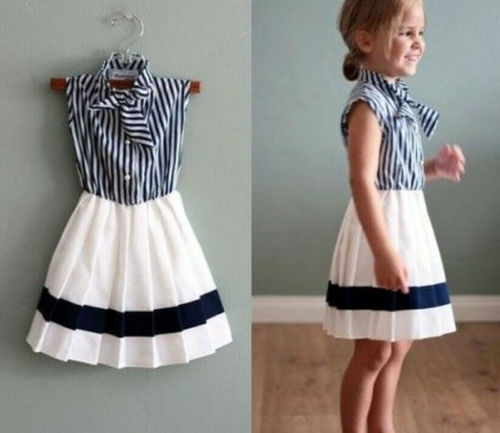 Kids Baby Girls Summer Tunic Striped Dress Casual Party Sundress Clothes