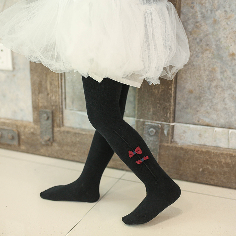 0 2 Years Dual use crotch spring new girl pants cotton baby knitting bottom pants bow baby girl infant tights in Tights from Mother Kids