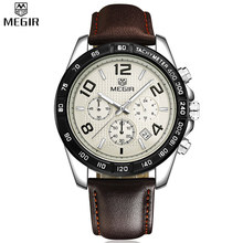 MEGIR Date Chronograph Sports Watches Men Genuine Leather Strap Watch Time Hours Fashion Casual Boys Waterproof