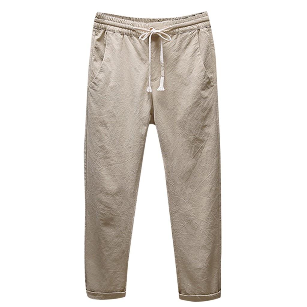 2019 Autumn Pants Men's Casual Linen Breathable Loose Long Pants Solid Color Straight Trousers Pantalones Hombre Plus Size