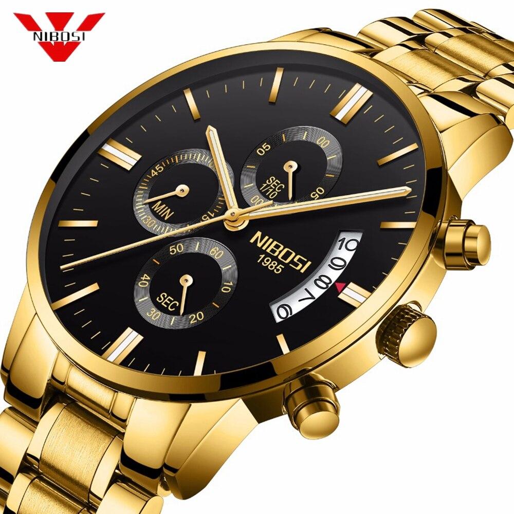 NIBOSI reloj hombre Mens relojes de lujo de cuarzo militar deporte reloj hombres relojes impermeable Masculino oro reloj relojes para hombre