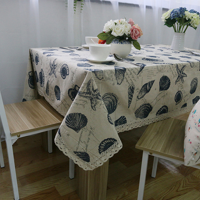 Tablecloth Shell Marine Patterns For The Table Cloth Linens Oval Lace  Tablecloth Wedding Outdoor Holiday Vintage